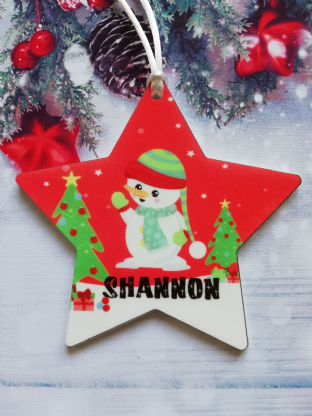 Christmas Snowman Star Ornament Decoration
